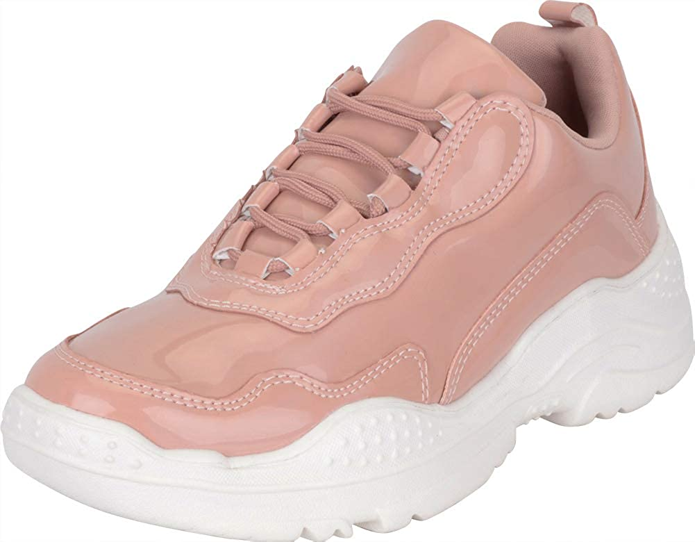 Nude Hologram Cambridge Select Women's 90s Ugly Dad Iridescent Holographic Lace-Up Chunky Fashion Sneaker
