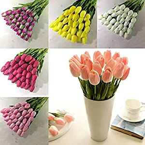Artificial Flowers - 1 Bouquet 10 Heads Fake Tulip Artificial Silk Flower Rose Home Office Wedding Decor Flowers - Lavender Succulents Artificial Flowers Garland Blossom Bulk Magnolia Lilys Wedd 90
