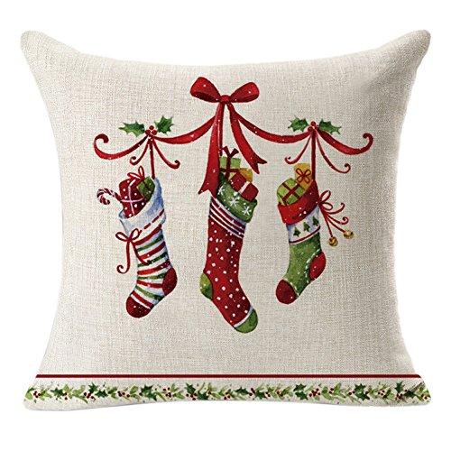 CUCUHAM Christmas Linen Square Throw Flax Pillow Case Decorative Cushion Pillow Cover D ()