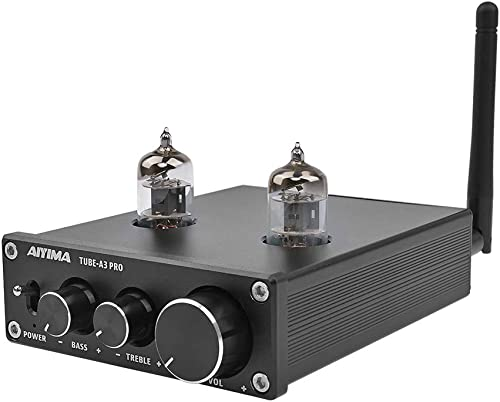 AIYIMA Audio 6J1 Tube Preamplifier Bluetooth 5.0 HiFi Treble Bass Adjustment Audio Preamplifier DC12V Amplifier Preamp NE5532P Chips for Home Theater System Black BT 5.0
