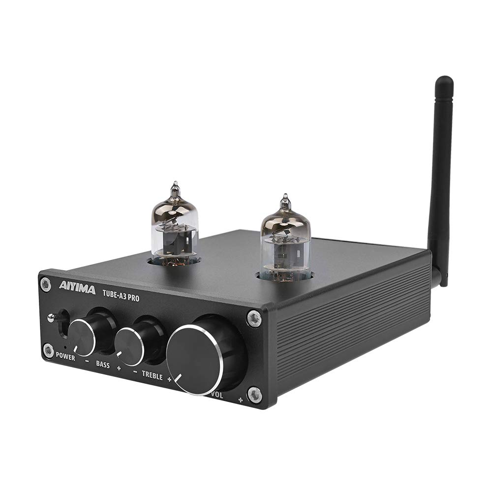 AIYIMA Audio 6J1 Tube Preamplifier Bluetooth 5.0 HiFi Treble & Bass Adjustment Audio Preamplifier DC12V Amplifier Preamp NE5532P Chips for Home Theater System(Black+BT 5.0) by AOSHIKE