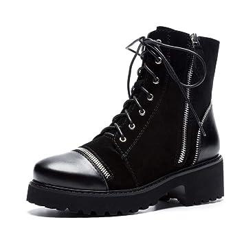 YAN Botas para Mujer Botines de Cuero de Inglaterra Zapatos de Plataforma Negros con Cordones Zip Locomotive Martin Boots Zapatos de Ciclismo: Amazon.es: ...