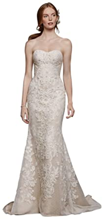 Davids bridal oleg cassini strapless lace sheath wedding dress davids bridal oleg cassini strapless lace sheath wedding dress style cwg738 ivory junglespirit Image collections