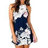 Quealent Women's Casual Sleeveless Halter Neck Boho Print Short Dress Sundress (S, Dark Blue B)