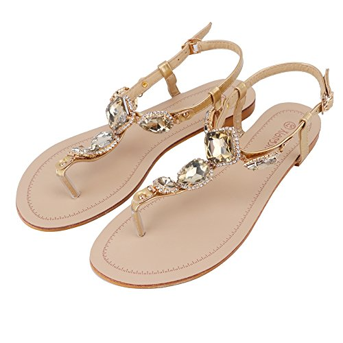 f4458667a7e Meeshine Women s T-Strap Sparkly Summer Beach Thong Flat Sandals flip-flop  Dress Shoes
