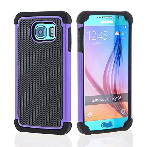 OHOH Premium Soft Silicon Plastic Dual Layer Armor Full-Body Super Protection Case for Galaxy S6(Purple) -