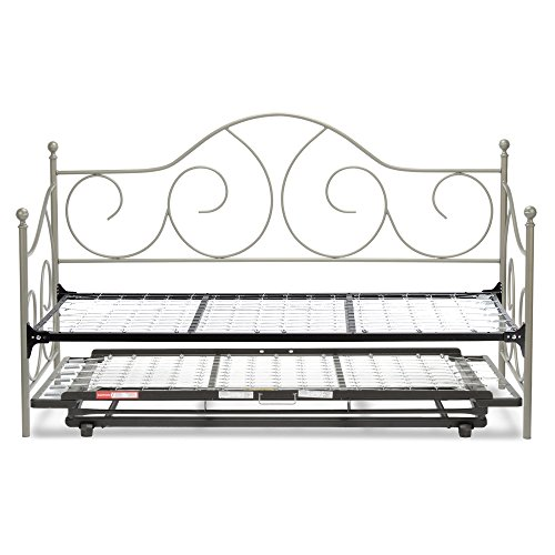 (Leggett & Platt Caroline Complete Metal Daybed with Link Spring Support Frame and Pop-Up Trundle Bed, Flint Finish, Twin)