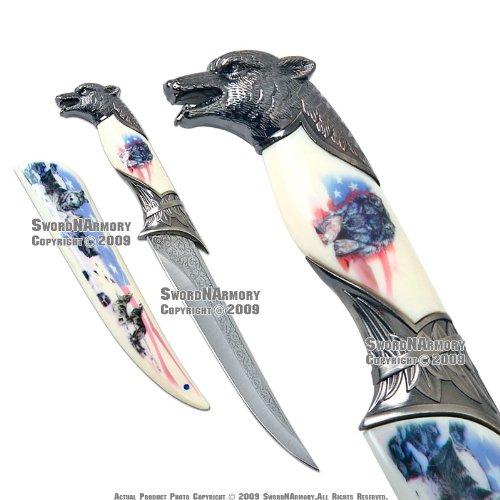 American Flag Wolf Fantasy Dagger Bowie Knife w/ Sheath, Outdoor Stuffs