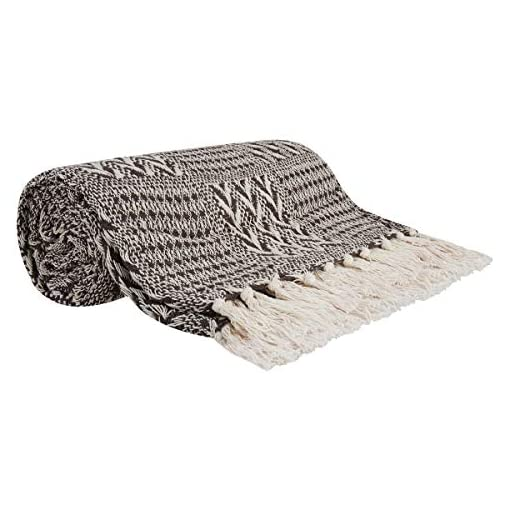 Bedroom Throw Blanket Brown and White 60×50 – 100% Cotton Bed Throw Blanket for Couch, Chair – Farmhouse Cozy Bed Throw Blanket… farmhouse blankets and throws