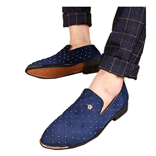 Rivets Toes XIUWU Pointed Men's Blue Oxford Shoes ApSqf5