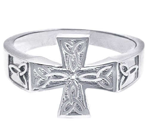 Men's 10k White Gold Forever Trinity Knot Sideways Celtic Cross Ring