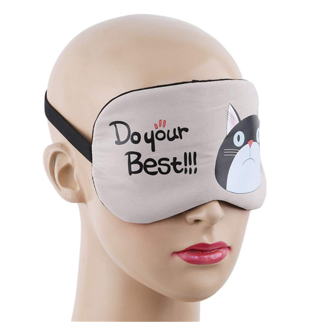LZIYAN Sleeping Mask Cartoon Cat Sleep Eye Mask Breathable Travel Shade Cover Rest Relax Sleeping Blindfold Eye Patch,Khaki by LZIYAN (Image #4)