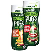 Sprout 6-Pack of 1.5 Ounce Organic Plant Power Puffs Baby Snacks Canister