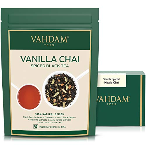 VAHDAM, Masala Chai con sabor a vainilla | 200 gramos (100 tazas) | ALIVIO Y RESTAURACION DE ESTRES | Masala Chai Tea | Deliciosa mezcla de te de vainilla | Te de chai con especias hojas sueltas