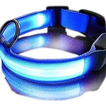 ASX Design SUKRAGRAHA New Super Bright Nylon LED Dog Night Safety Collar Flashing Light up (Blue, L)