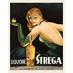 "Fashion Blond Lady Girl Drinking Liquor Liquore Strega Food Italy Italian Drink 16"" X 20"" Image Size SHIPPED ROLLED Vintage Poster Reproduction we have other sizes available"