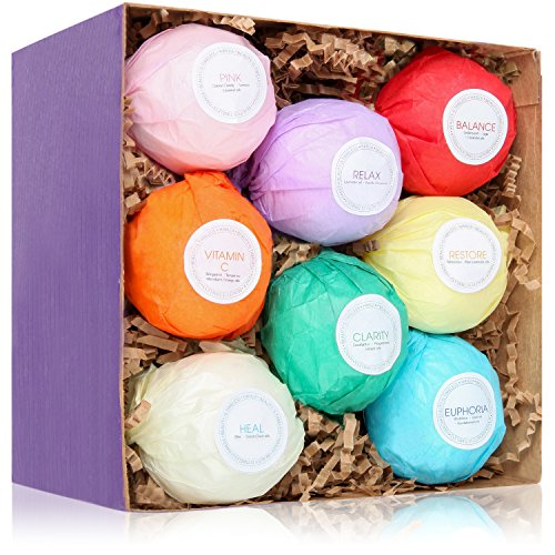 8 USA Made Vegan Bath Bombs Kit - Gift Set Ideas - Gifts For Women, Mom, Girls, Teens, Her - Ultra Lush Spa Fizzies - Best Gift Ideas - Add to Bath Bubbles, Basket, Bath Beads - Bath Pearls (Gift And Basket)