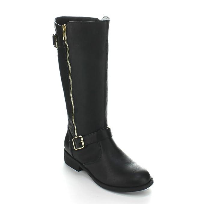 dd36d0449d21 Amazon.com  FOREVER ELVA-23 Women s Block Heel Quilt Stitching Knee ...
