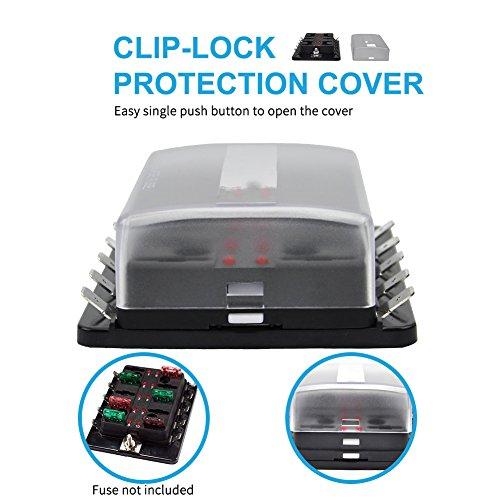 Liteway 10 Way Blade Fuse Holder Box 12-32V LED Illuminated Automotive Fuse Block for Car Boat Marine Trike with LED Warning Light Kit, 2 Years Warranty by LITE-WAY (Image #2)