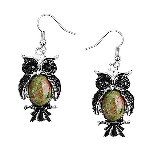 Liavy's Owl Fashionable Earrings - Fish Hook - Unakite Stone (Hook Earrings Unakite)