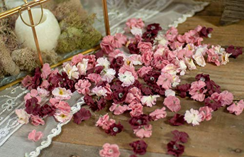 Wedding Sweetheart Table Decorations, Flower Confetti, Bridal Shower Decor, Floral Baby Shower Decorations, Burgundy, Rose and Blush]()