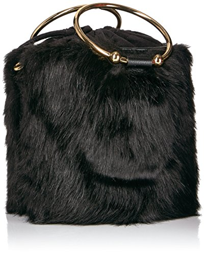 Bucket Faux Fur MILLY Drawstring Black UP86qw