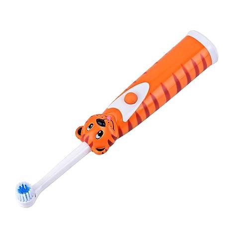 inkint Rojo fluorescente niños Cepillo de dientes eléctrico ABS + silicona resistente al agua Kids Cuidado
