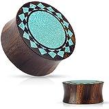 """PAIR of Crushed Turquoise Tribal Sunburst Inlaid Wood Saddle Plugs - Gauges 00g - 1"""" (9/16"""" (14mm))"""