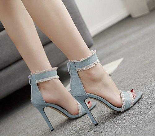 Color 36 élégant d'été nouvelles ouvert Bleu sexy sandales mode denim bleu 2018 chaussures blanc bout Taille clair 11CM parti respirant hauts à talons sandales chaussures casual Bleu yAB84yWcwq