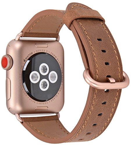 JSGJMY Apple Watch Band 38mm Women Caramel Vintage Genuine Leather Replacement Wrist Strap with Series 3 Gold Metal Clasp for Iwatch Series 3 Gold Aluminum (Caramel Calf Leather)