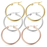 Jstyle Jewelry Stainless Steel Hoop Earrings for Women Huggie Hypoallergenic 3 Pairs a Set 25MM