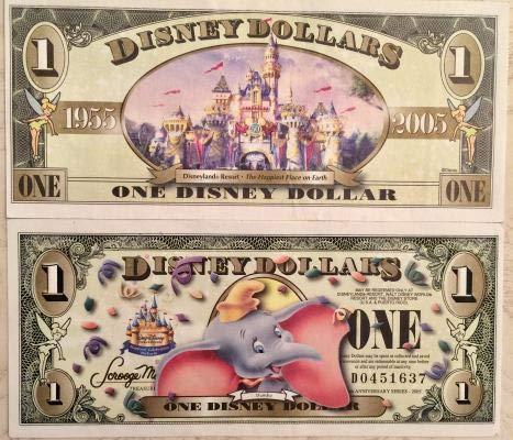 Anniversary Disney 50th - Walt Disney Dollar Bill Featuring Dumbo Celebrating Resorts 50th Anniversary