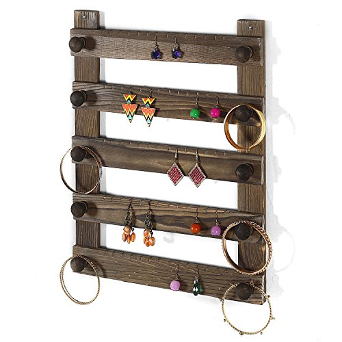 MyGift Rustic Espresso Wood Wall Mounted 35-Pair Earring Holder & Jewelry Hanger Rack