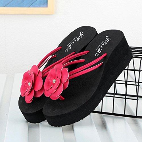Sandali Romane Rosa infradito Fiore con 6cm UOMOGO® Estate Donna tacco Infradito Scarpe xgwnfOfH