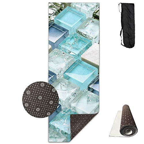 (Bennett11 Yoga Mat with Carrying Bag Transparent Stones Fitness High Density Anti-Tear Exercise Gym Mat 70.9