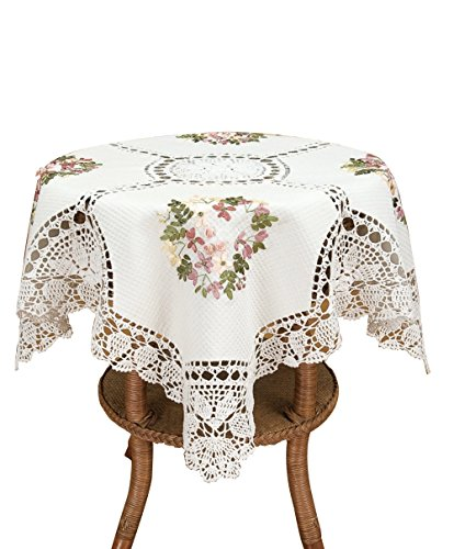 Simhomsen Handmade White Cotton Linen Tablecloth Ribbon Embroidered Crochet Tablecovers for End Table, Tea Table, Coffee Table and NightstandSquare 36 by 36 Inch
