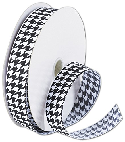 Ribbons Patterned Design - Black and White Houndstooth Ribbon, 7/8