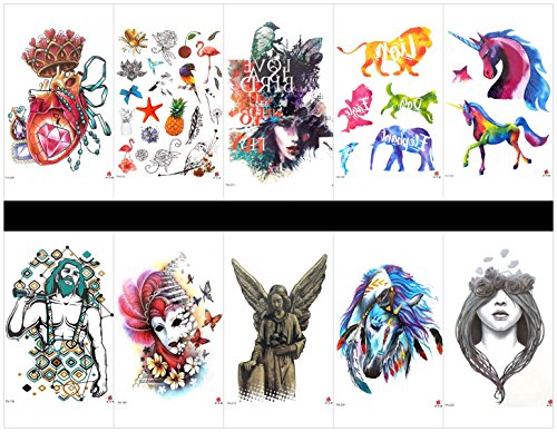 Grashine 10pcs tattoo horse temporary tatoo in a packages,including animal,dog,horse,lion,fish,eagle,jewelry,fruits,birds,women,man,woman with -