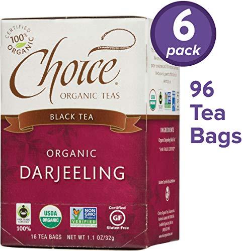 Choice Organic Teas Black Tea, 6 Boxes of 16 (96 Tea Bags), Darjeeling