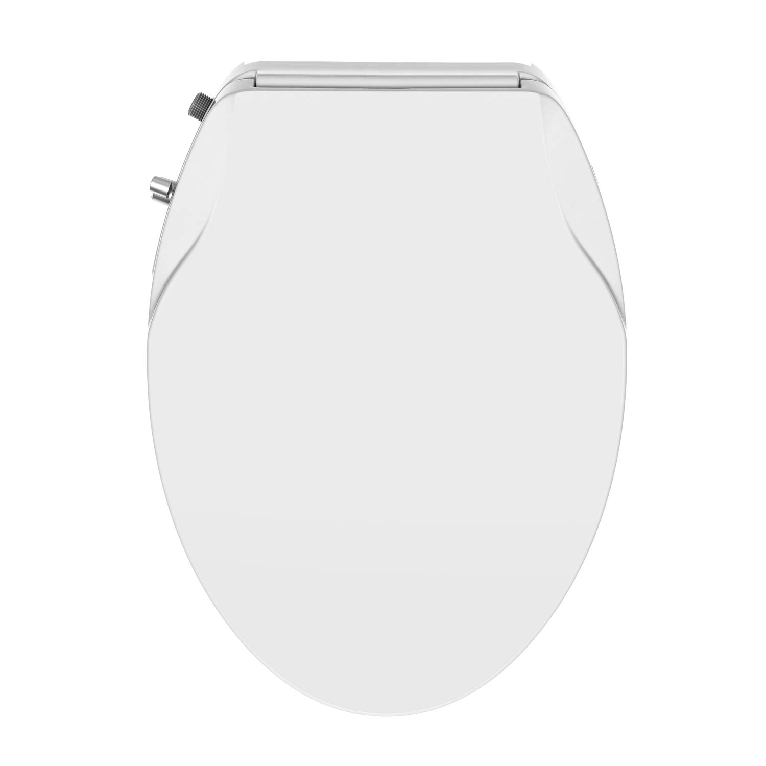 Easy Installation and Slim Design Soft close Dual Nozzles Non-Electric Bidet Round Toilet Seat in White with On//Off Solid Brass T Adapter Eco-Friendly Water-Powered /& Save Paper