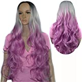 AMA(TM) Body Wave Wig With Bangs 180 Density Long Wave Synthetic Gradient Purple Curly Hair Cosplay Party Wig For Women (A)