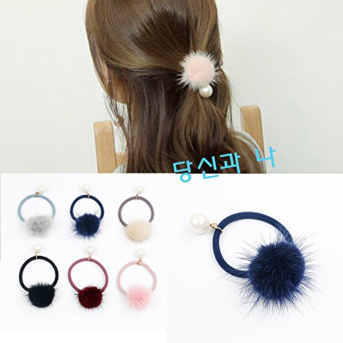 Korean autumn and winter lovely Super Meng mink Fur Ball hair ring hair tie hair rubber band girl's mind Pitao hair rope for women girl lady