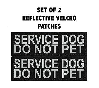 Doggie Stylz Set of 2 Reflective SERVICE DOG DO NOT PET Removable Patches for Service dog harnesses & vests.