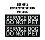 Doggie Stylz Set of 2 Reflective SERVICE DOG DO NOT PET Removable Patches for Service dog harnesses & vests.