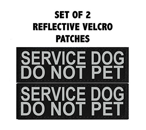 Doggie Stylz Set of 2 Reflective SERVICE DOG DO NOT PET Removable Patches for Service dog harnesses & vests. by Doggie Stylz