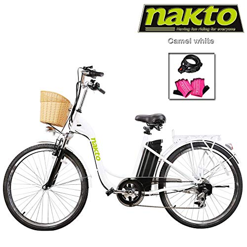 "NAKTO Adult Electric Bicycles 26"" Electric Bikes for 36V/10Ah/12Ah Ebikes(Camel White)"
