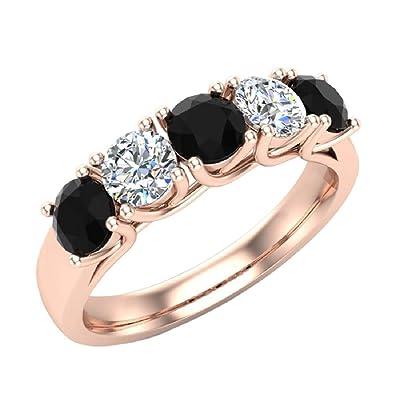 fe96ab0cef7e Amazon.com  Diamond Band 14K White Gold Five Stone Wedding Ring Trellis  Setting 1.10 ctw  Jewelry