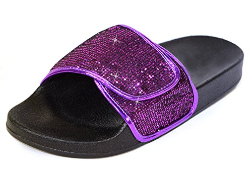H2K Slide Sandals for Women, Women's Comfy [Waterproof] Fashion Slip-On Slide Sandals [Flat Slippers] Adjustable Instep Strap with Hook-and-Loop Closure, Purple Glitter Size 10 [US Size] ()