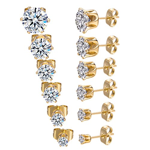 MDFUN 18K Yellow Gold Plated Round Clear Cubic Zirconia Stud Earring Pack of 6 Pairs (6 Pairs)