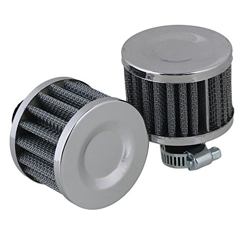 RDEXP Silver Aluminum Rubber Car Vent Valve Cover Breather Cold Air Intake Filter Set of 2